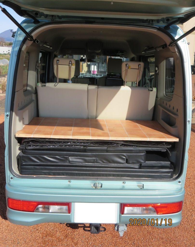 エブリィワゴンの荷台スペース ベットキットなどの車中泊グッツ