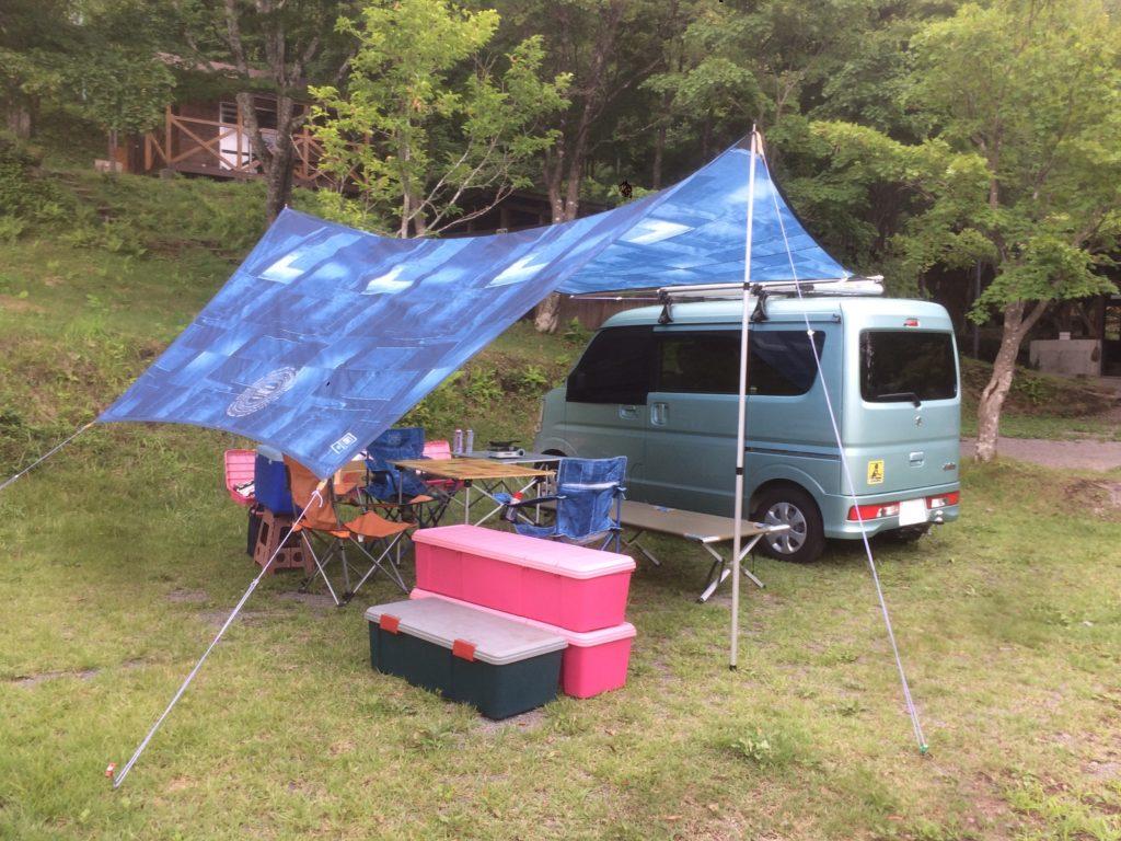 エブリイワゴンのキャンプ