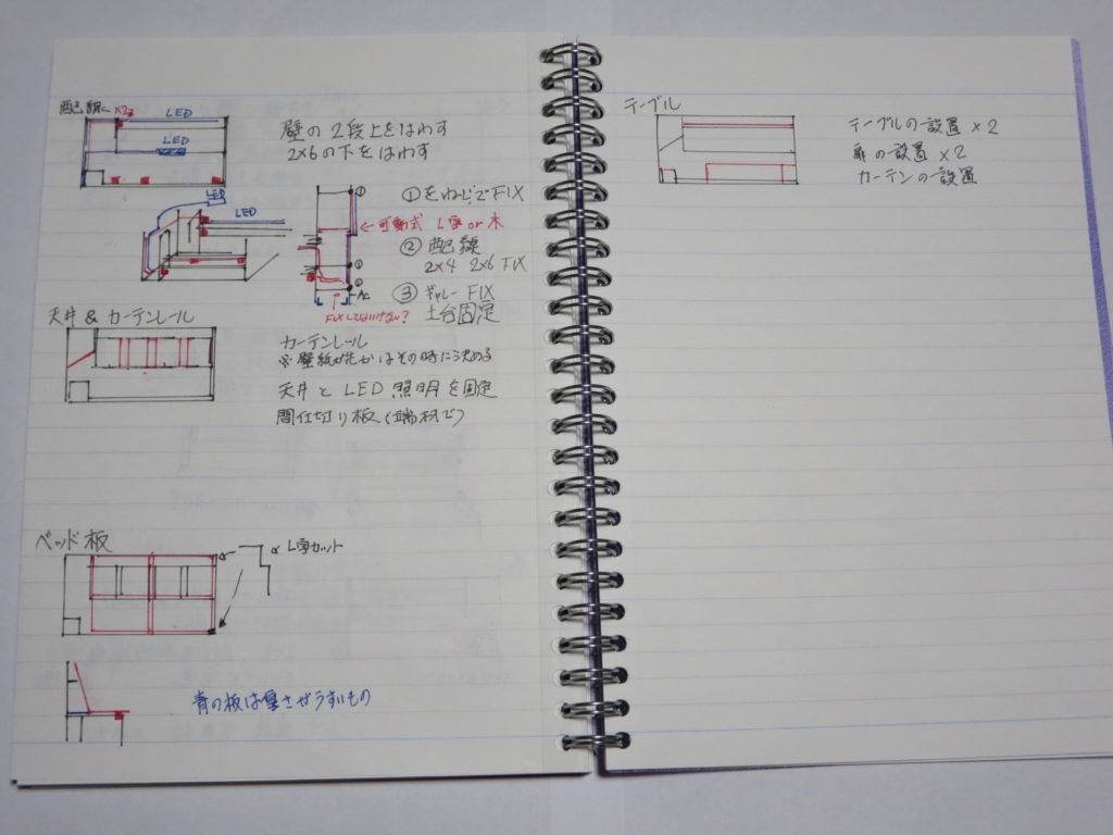 幌馬車くんの内装図面と制作工程を手書きで細かく書いてみる こちらは2ページ目