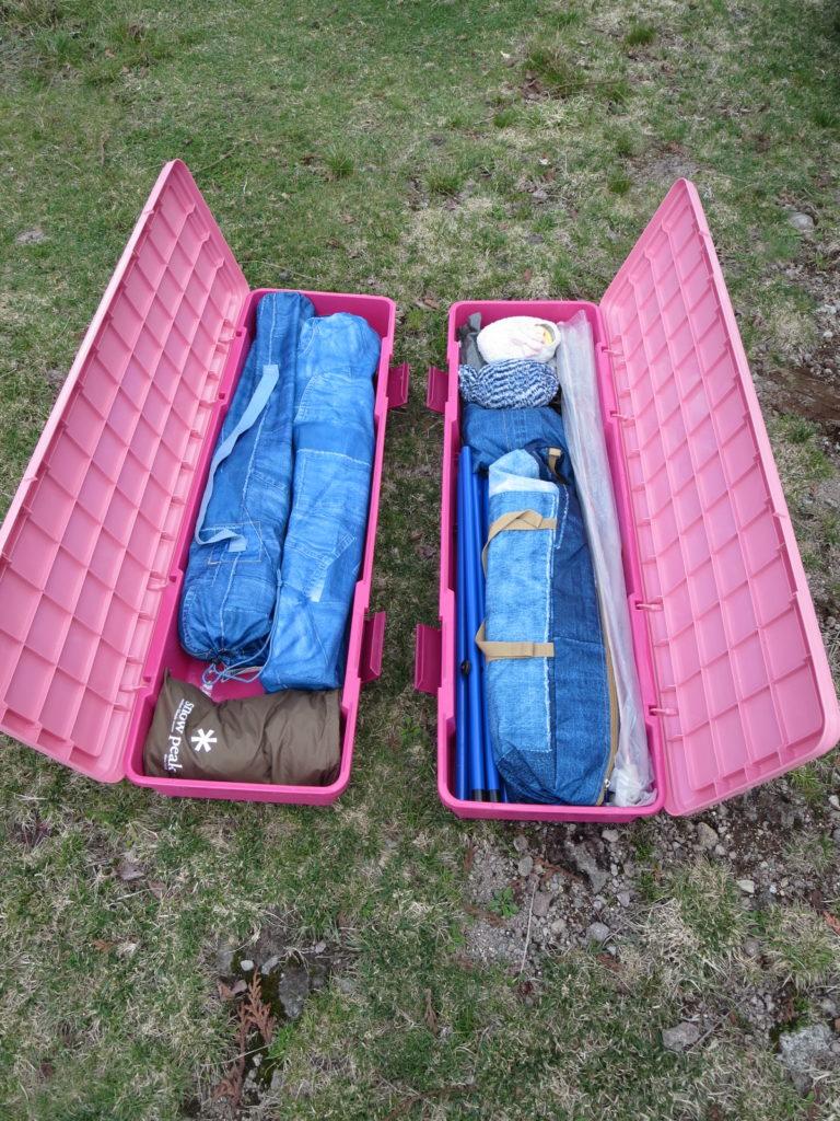 丸沼高原オートキャンプ場でのRVBOXの荷物中身