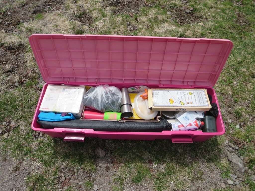 丸沼高原オートキャンプ場でのRVBOXの深型の中身 主にキッチン道具