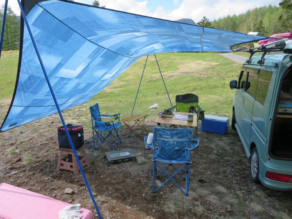 v丸沼高原オートキャンプ場でのヘキサタープの設営完了