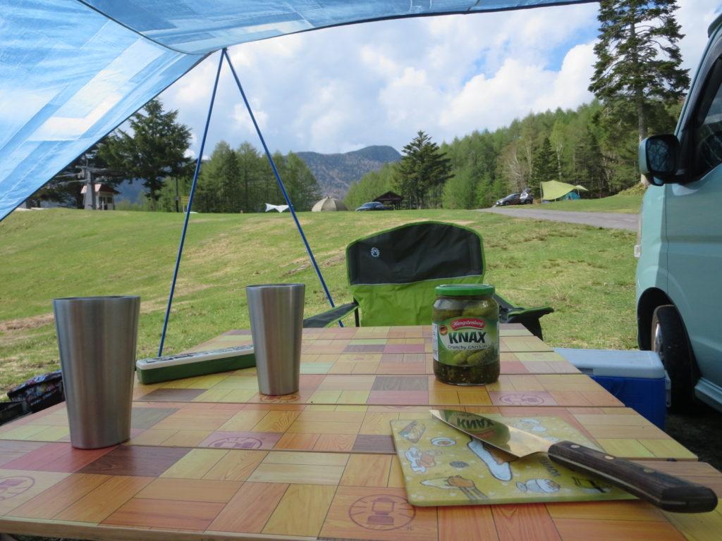 丸沼高原オートキャンプ場での椅子から眺めた風景