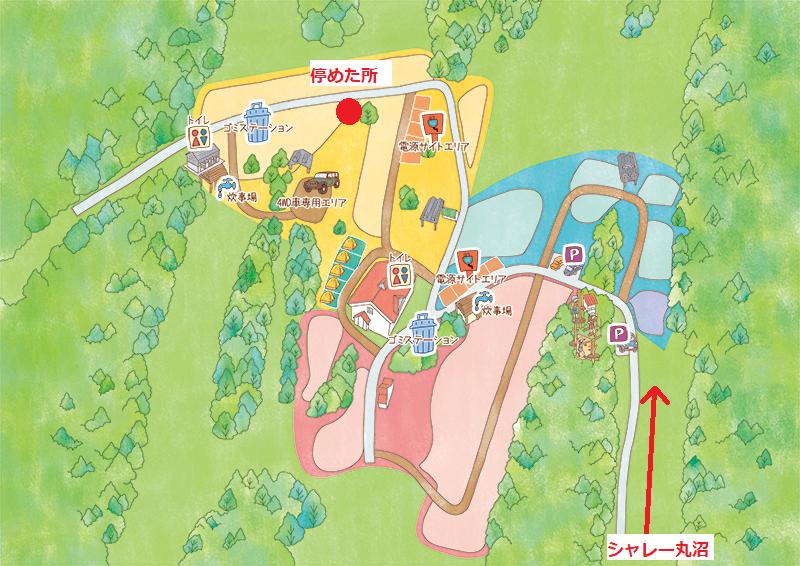 丸沼高原オートキャンプ場のマップとテントサイト