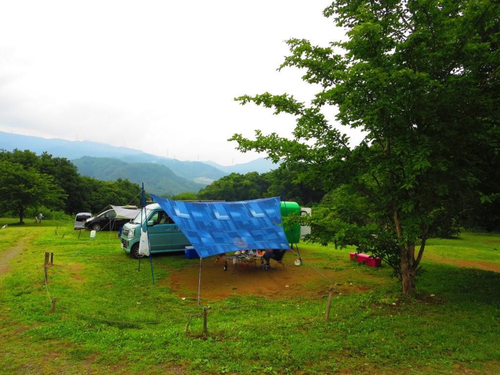 上毛高原キャンプグランドの軽キャンプのキャンプ風景