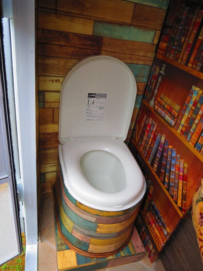 軽キャンピングトレーラーの幌馬車くん トイレ