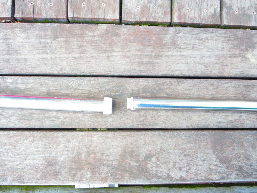 キャンプのタープで使う物干竿の修理