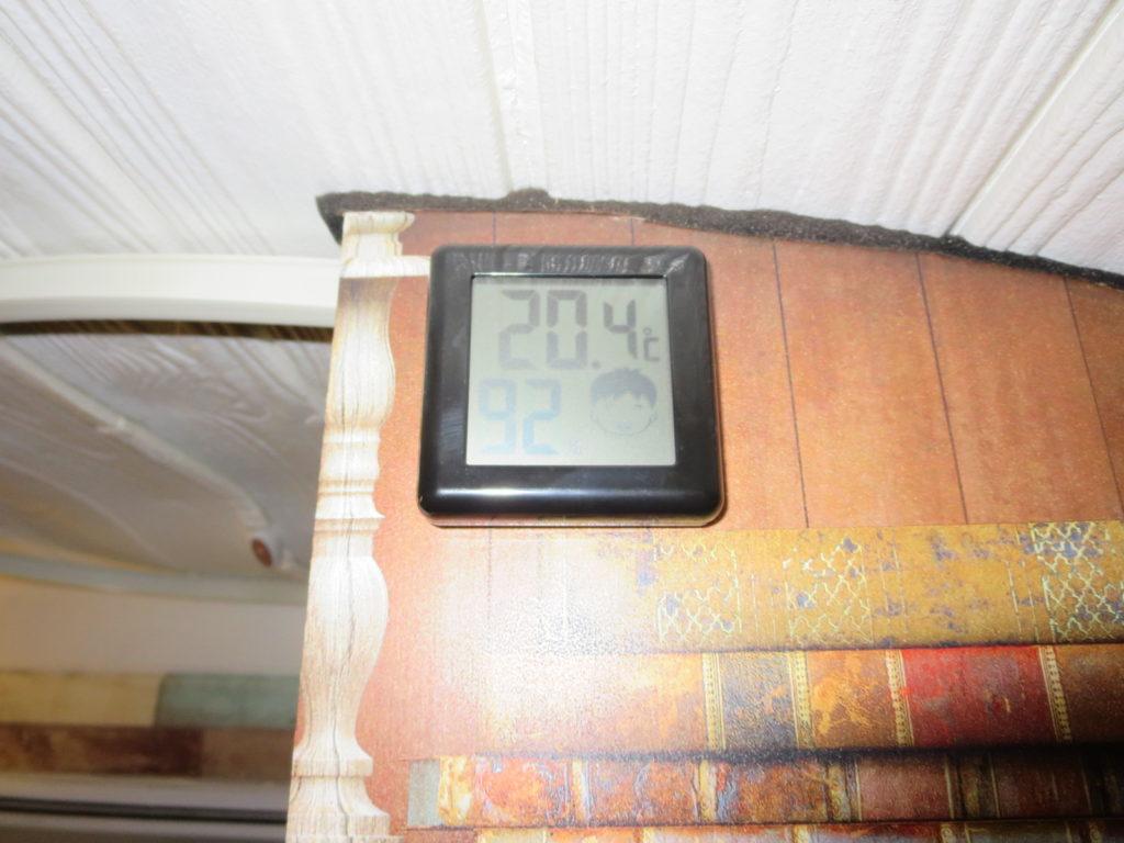 草津温泉、天狗第一駐車場の車中泊の幌馬車くんの温度