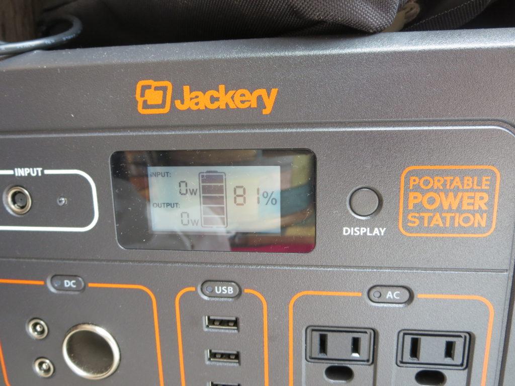 草津温泉、天狗第一駐車場の車中泊のバッテリー消費 JACKERY