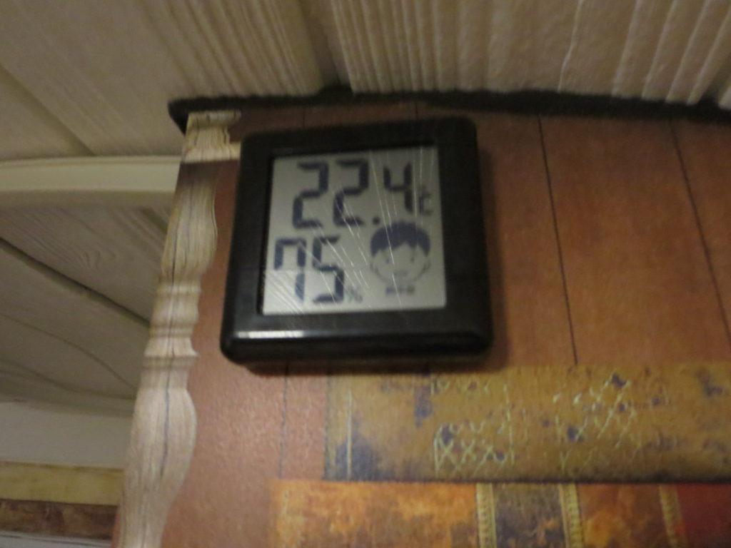 すずらんの湯の幌馬車くん車中泊 室内温度