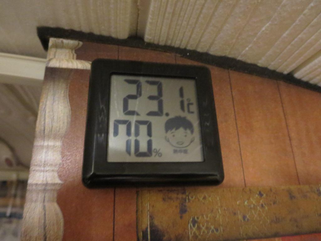 道の駅ビーナスライン蓼科湖のキャンピングトレーラーの幌馬車くん車中泊の室内温度