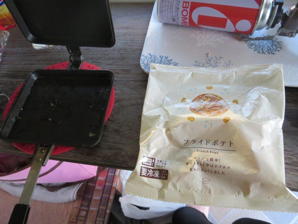 霧ヶ峰スキー場の駐車場車中泊 ホットサンドメーカーを使ったツマミ料理 バウルー フライドポテト
