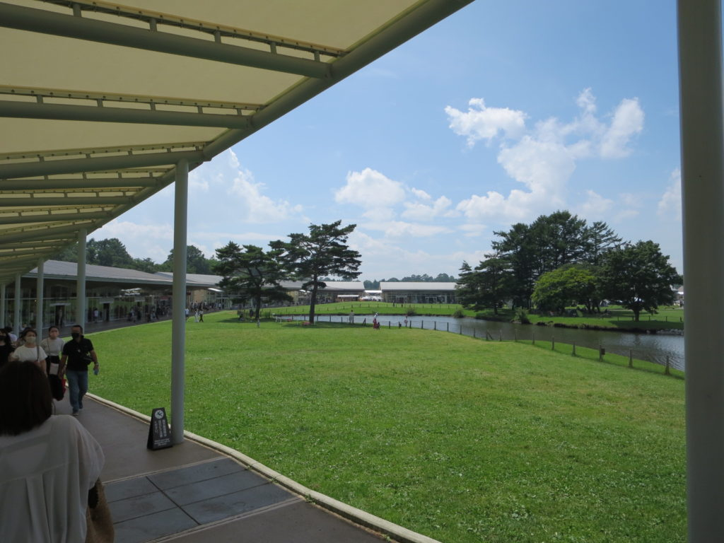 軽井沢ショッピングモールとキャンピングトレーラーの幌馬車くんの車中泊 内庭