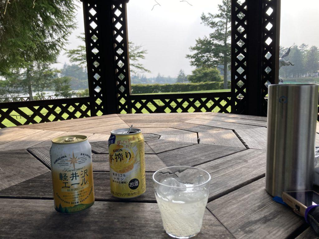 道の駅ビーナスライン蓼科湖の蓼科高原芸術の森彫刻公園の東屋で乾杯