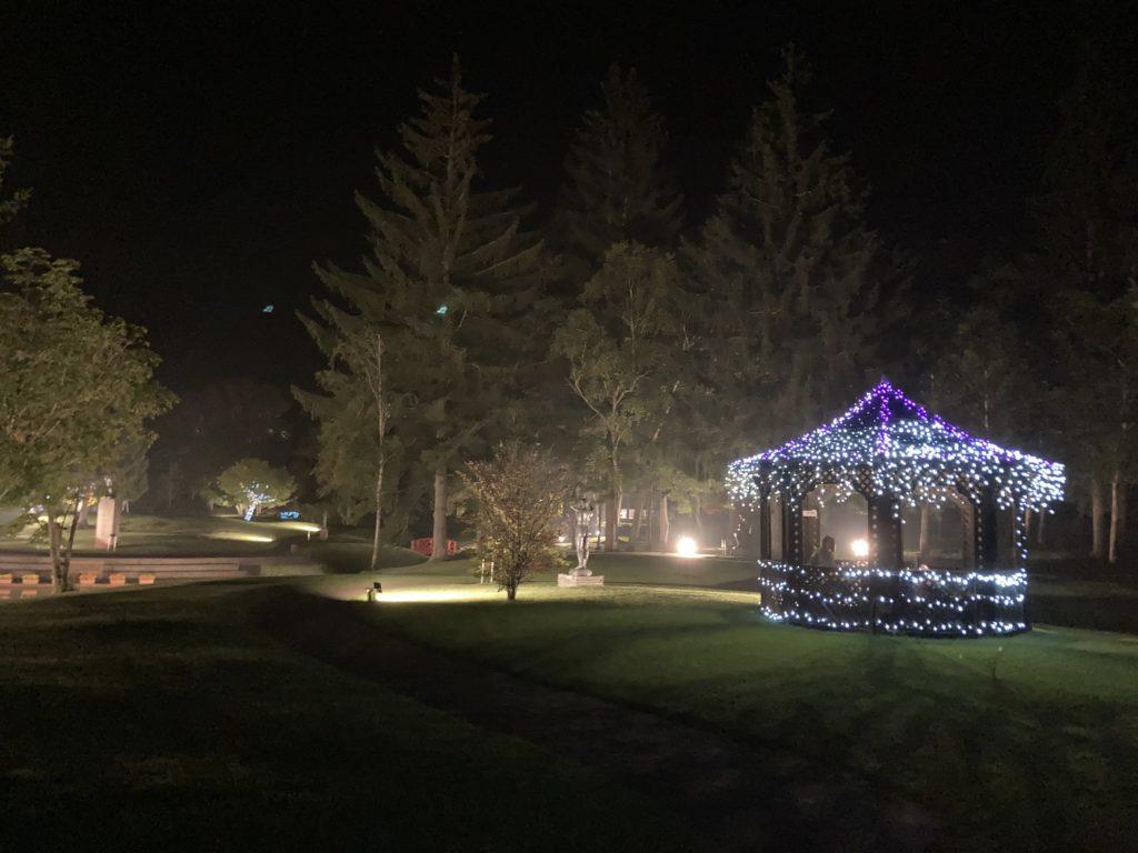 道の駅ビーナスライン蓼科湖の芸術の森彫刻公園ライトアップ イルミネーション