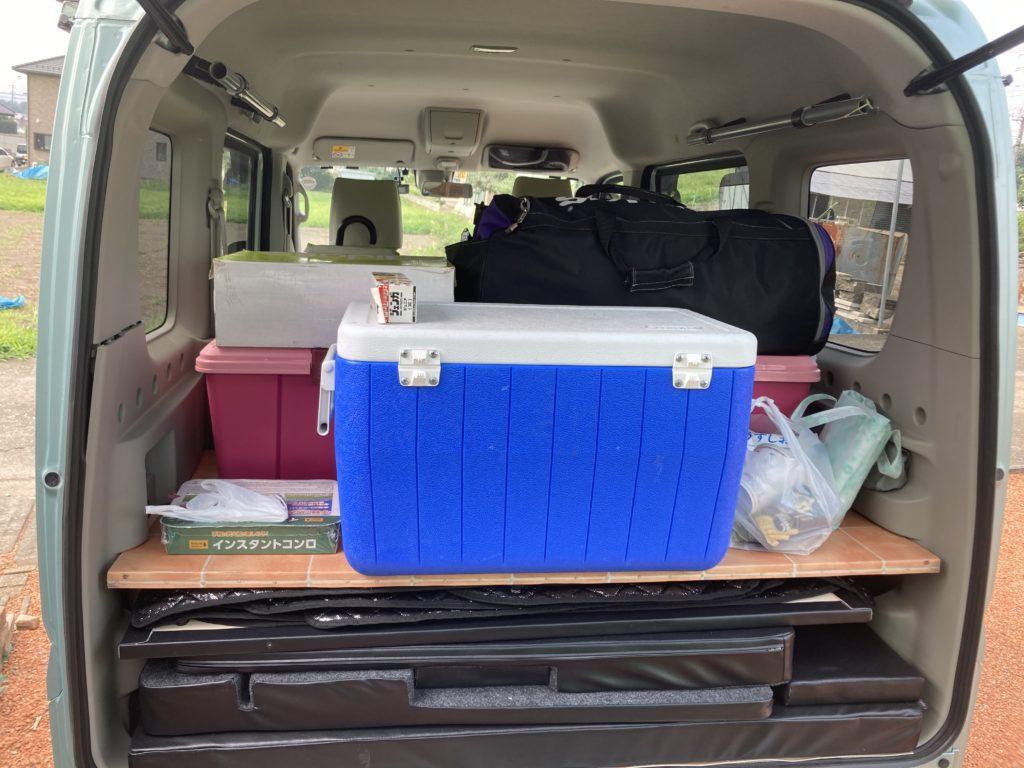 わらび平森林公園キャンプ場を軽キャンピングトレーラーの幌馬車くんでキャンプの荷物