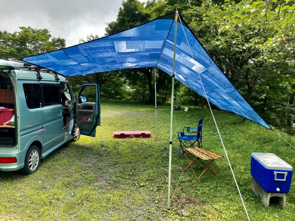 わらび平森林公園キャンプ場を軽キャンピングトレーラーの幌馬車くんでキャンプのタープ