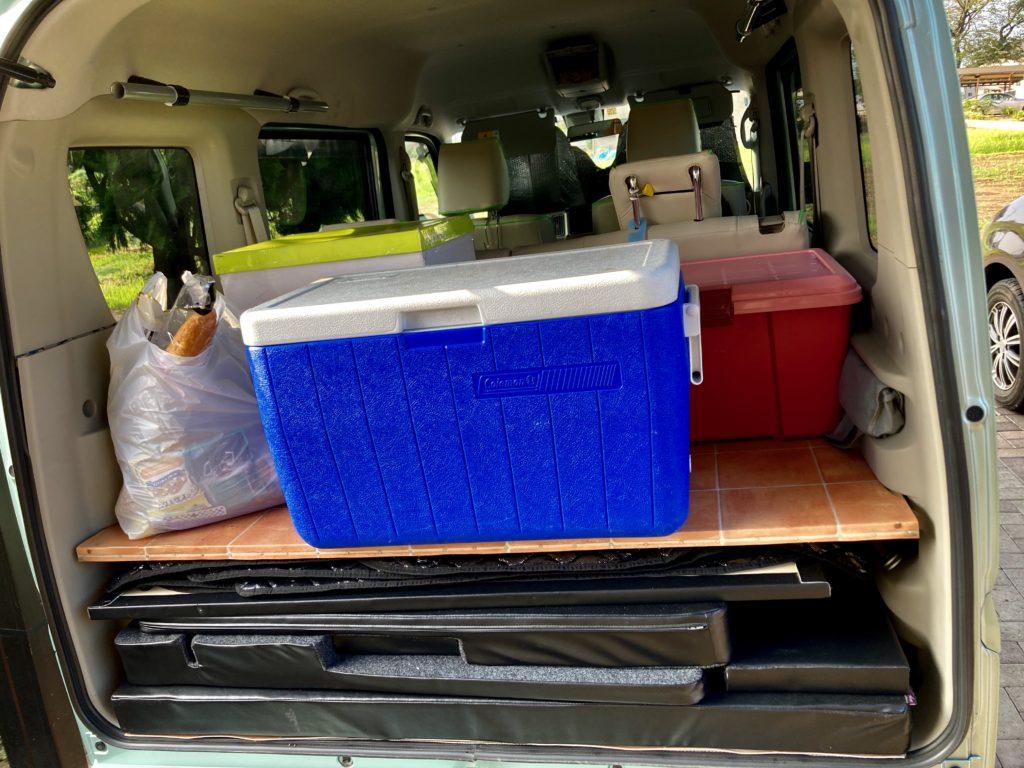 武尊牧場キャンプ場に幌馬車くんの軽キャンピングトレーラーで行く車中泊のキャンプ 荷物