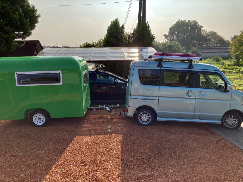 武尊牧場キャンプ場に幌馬車くんの軽キャンピングトレーラーで行く車中泊のキャンプ 出発風景