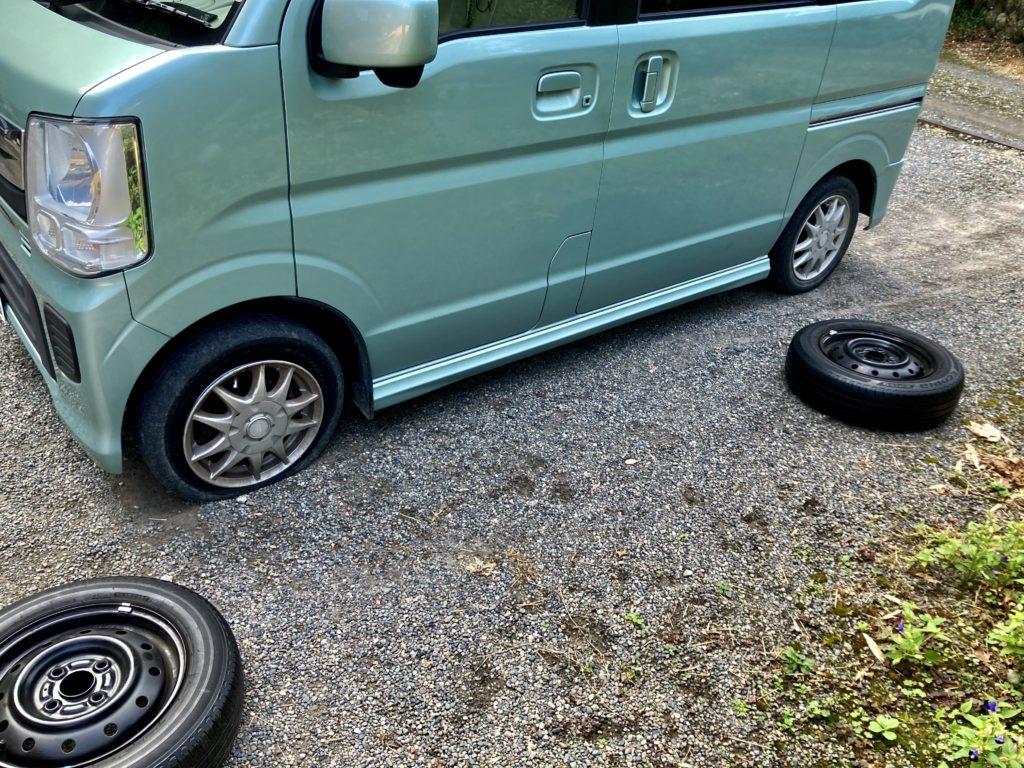 エブリイワゴンのパンクでタイヤ交換 タイヤ交換