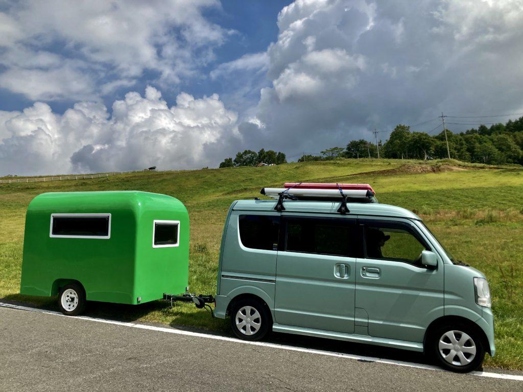 武尊牧場キャンプ場に幌馬車くんの軽キャンピングトレーラーで行く車中泊のキャンプ 山頂付近