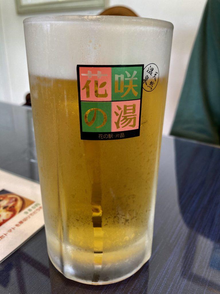 花の駅・片品 花咲の湯に幌馬車くんの軽キャンピングトレーラーで行く 生ビール