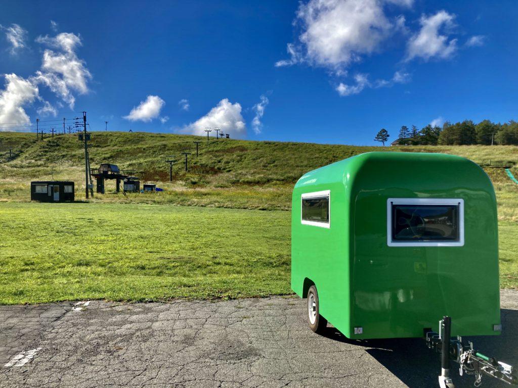 幌馬車くんと行く霧ヶ峰スキー場の車中泊の駐車場とゲレンデ
