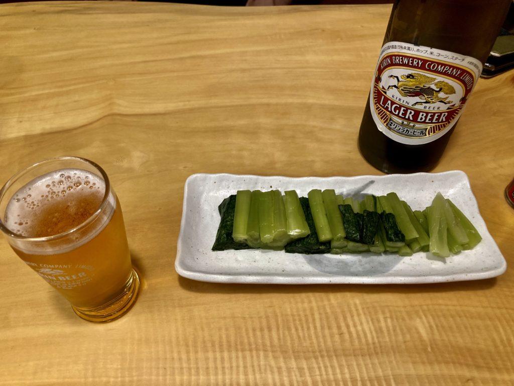 野沢温泉のそば処「大茂ん」でビールと野沢菜