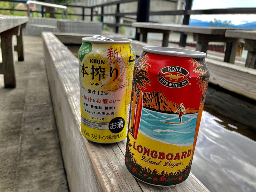 野沢温泉の麻釜の大釜と足湯「湯らり」でビールで乾杯