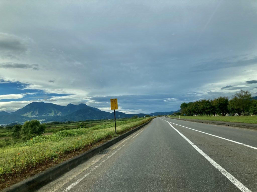 野沢温泉、野沢温泉スキー場の帰りの道路