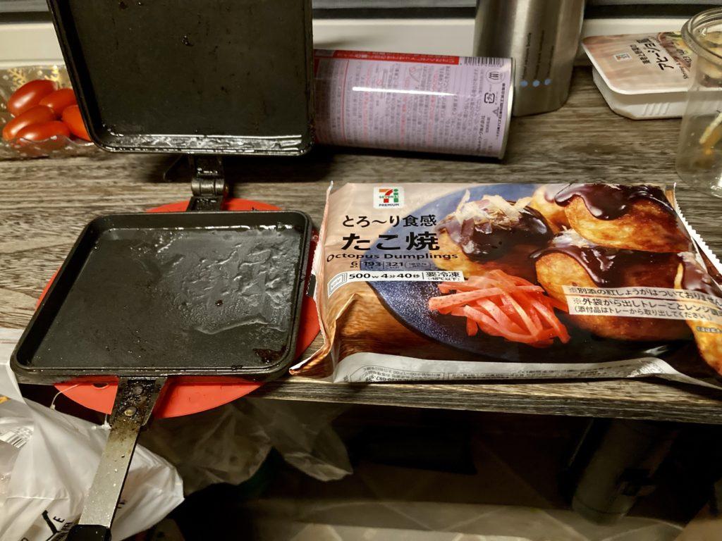幌馬車くんでトレーラー飲み ホットサンドメーカーで作る料理のたこ焼き