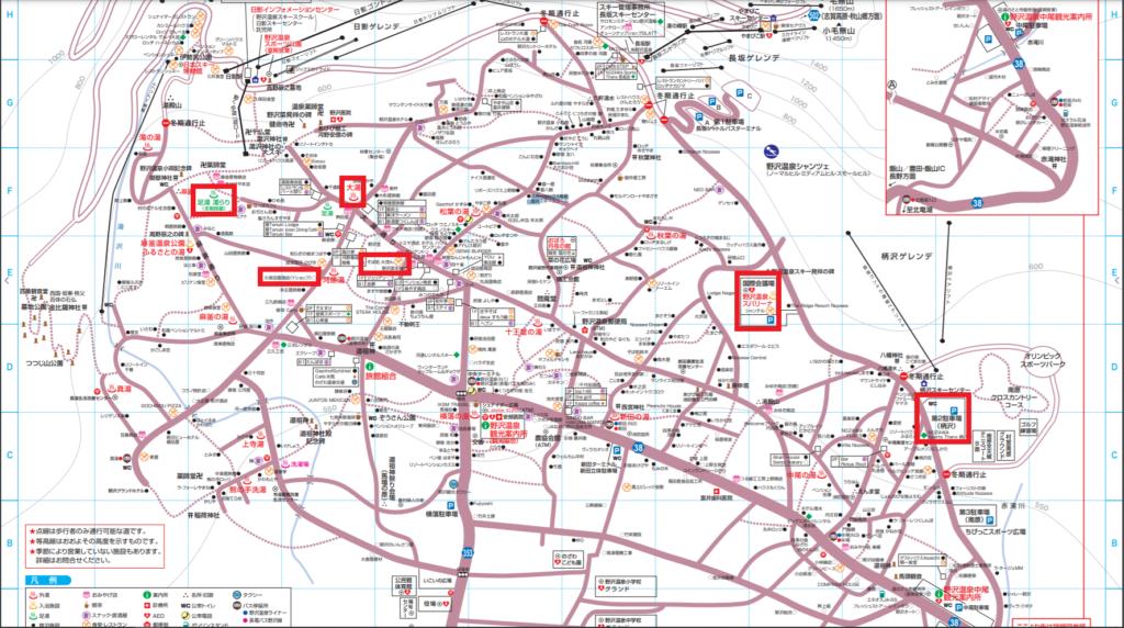 野沢温泉のタウンマップ