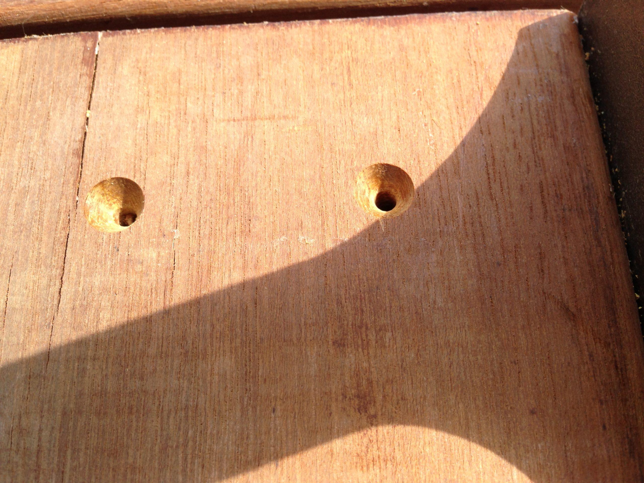 ウリン(アイアンウッド)を使ったウッドデッキの自作で皿取錐(さらとりきり)を使用
