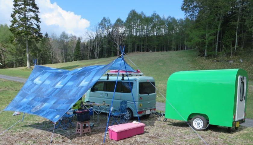 丸沼高原オートキャンプ場にエブリィワゴンと軽キャンピングトレーラーを牽引してキャンプ