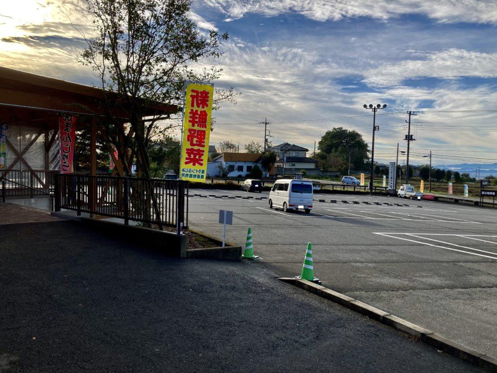 幌馬車くんと行く道の駅「ふじみ」キャンピングトレーラー車中泊 勾配のある駐車場
