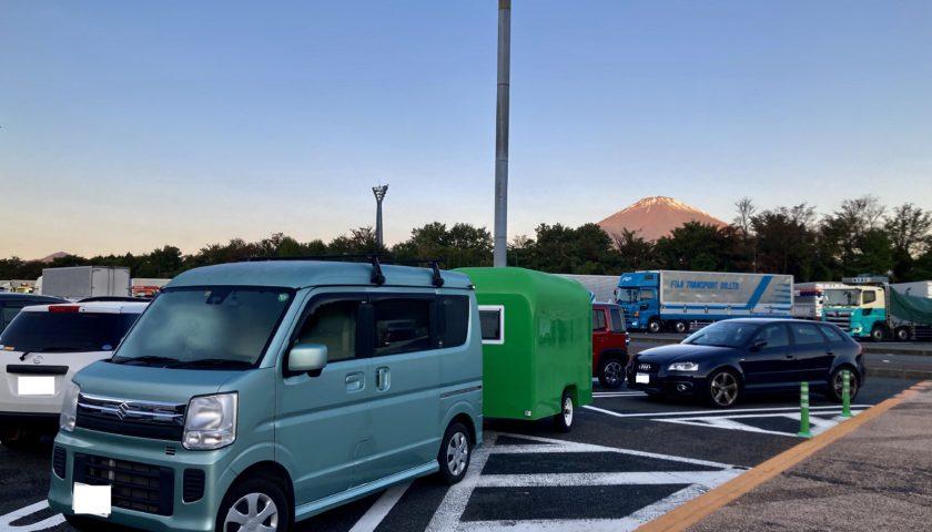 軽キャンピングトレーラーの幌馬車くんで行く東名高速道路「足柄SA」車中泊