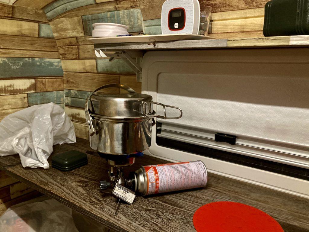 軽キャンピングトレーラーの幌馬車くんで行く伊豆の道の駅「伊東マリンタウン」湯たんぽのお湯を沸かす