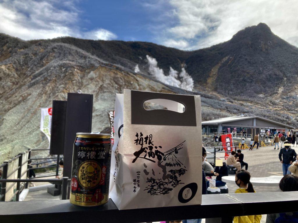軽キャンピングトレーラーの幌馬車くんで行く箱根の芦ノ湖と大涌谷の観光