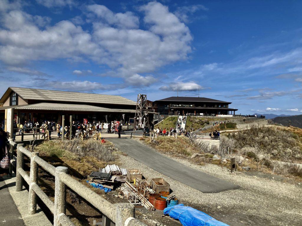 軽キャンピングトレーラーの幌馬車くんで行く箱根の芦ノ湖と大涌谷の観光 大涌谷駅