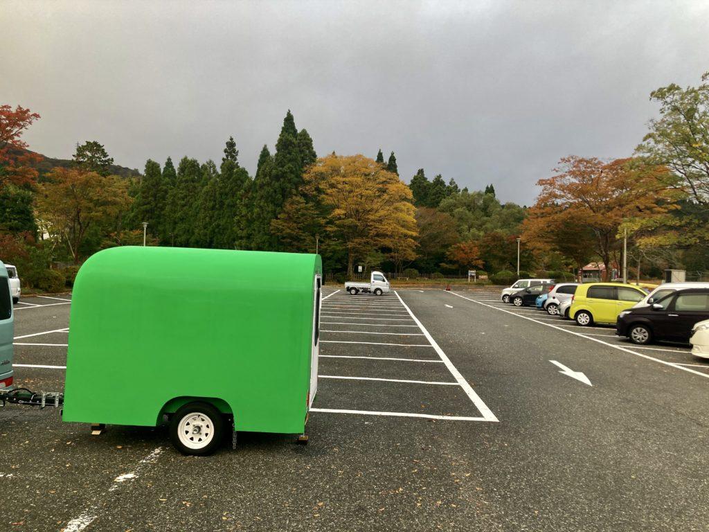軽キャンピングトレーラーの幌馬車くんで行く箱根の芦ノ湖「P12箱根町園地駐車場」車中泊翌日