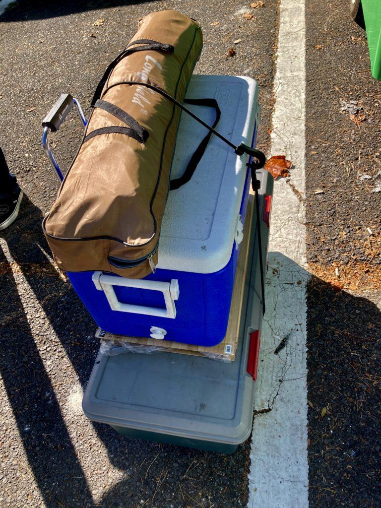 軽キャンピングトレーラーの幌馬車くんで行く渋川市総合公園キャンプ場キャリーカート