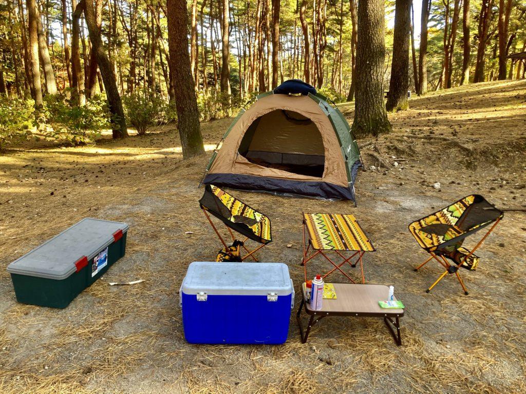 渋川市総合公園キャンプ場のテントサイトの区画