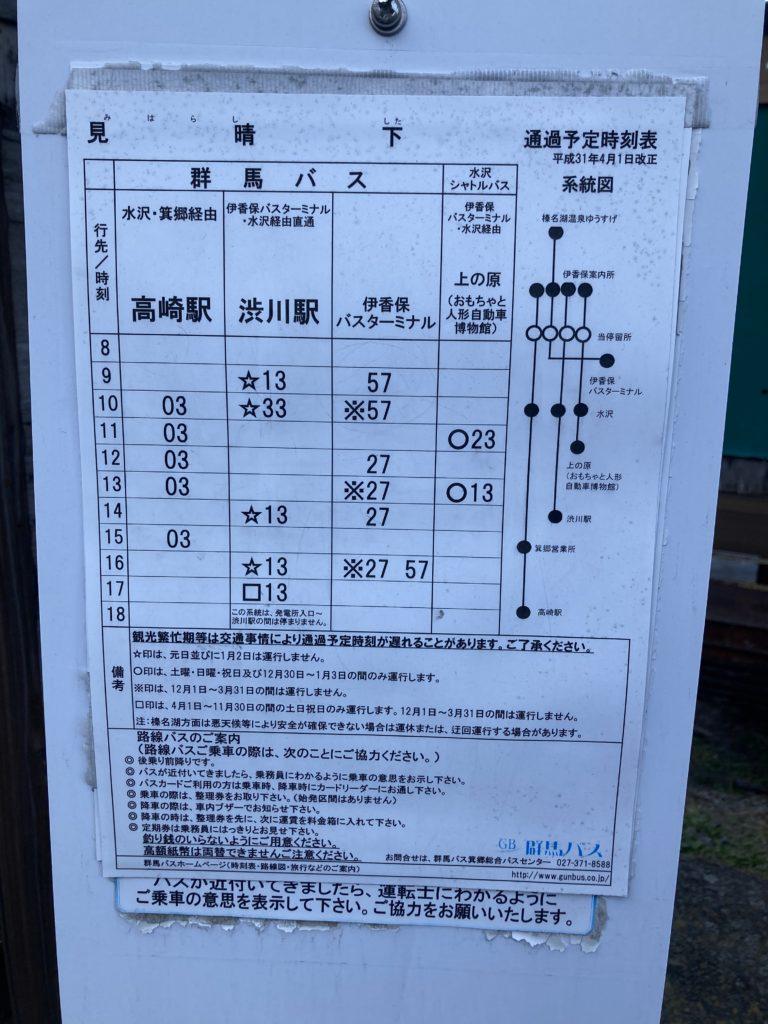 伊香保温泉観光でバス停の見晴下の時刻表