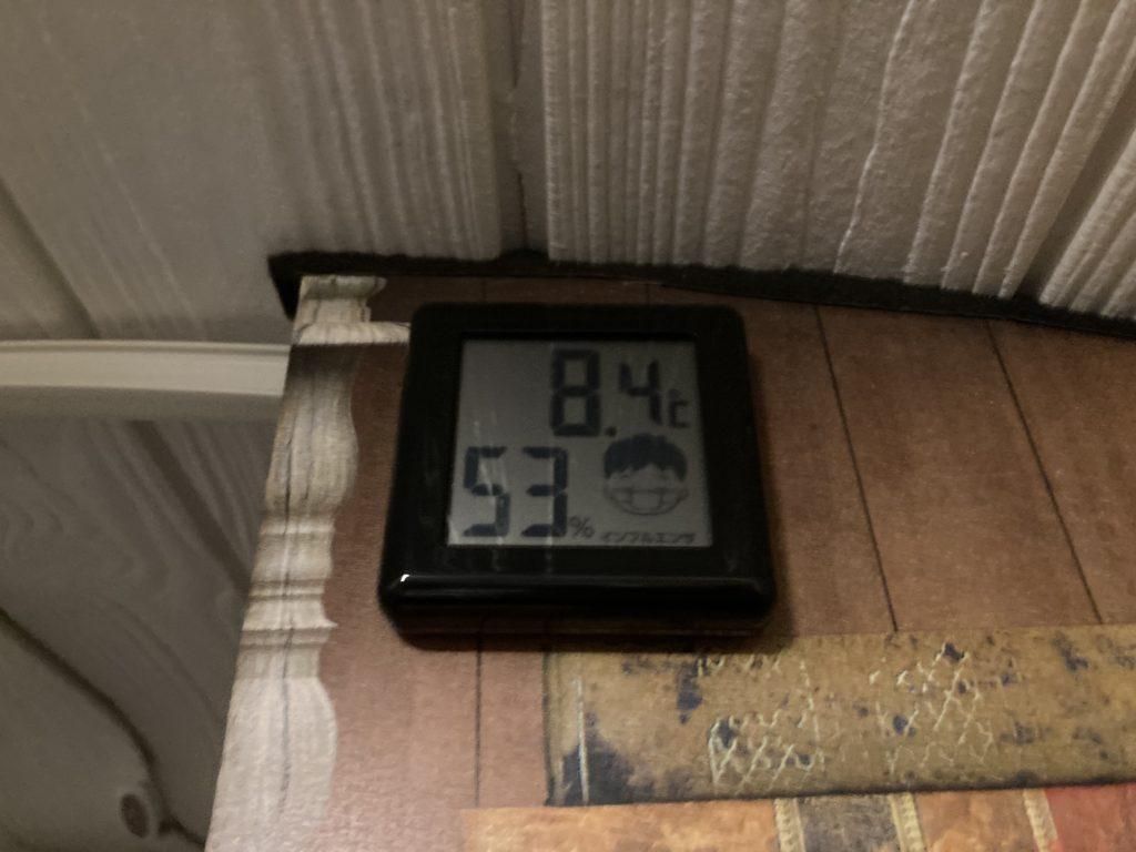 軽キャンピングトレーラーの幌馬車くんで行く渋川市総合公園キャンプ場での室内温度