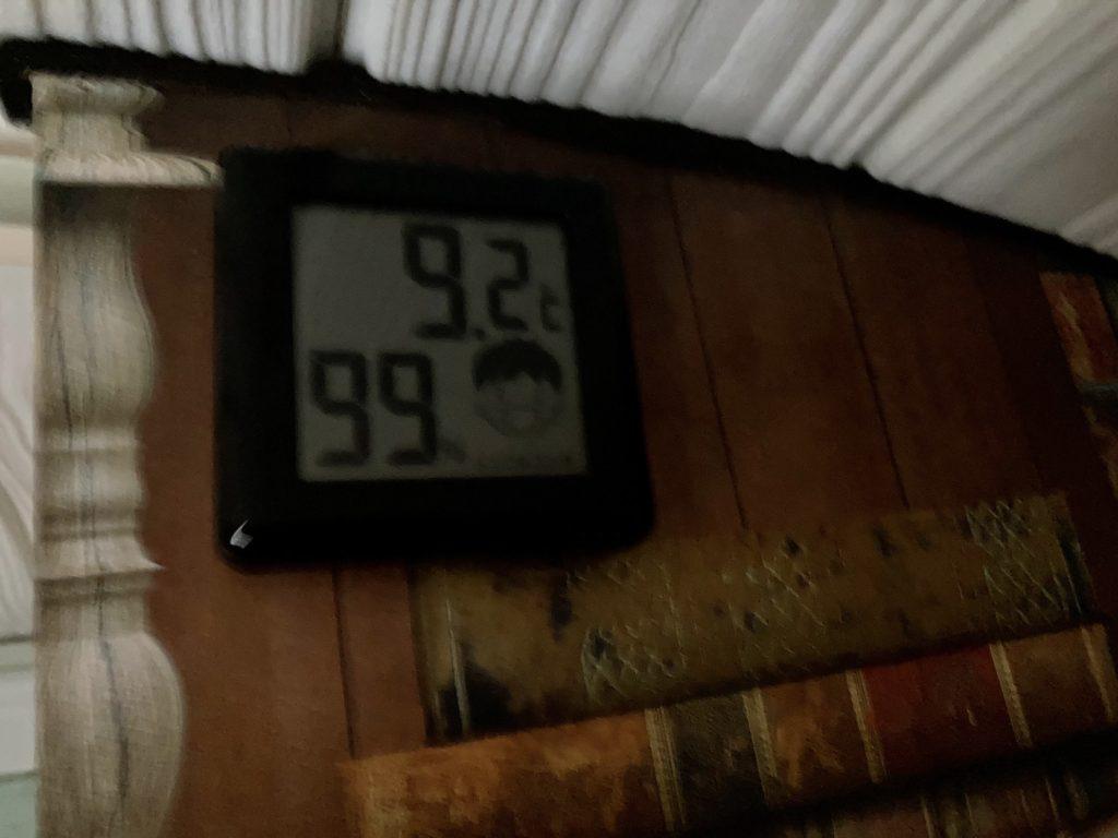 軽キャンピングトレーラーの幌馬車くんで行く渋川市総合公園キャンプ場でのトレーラーの室内温度
