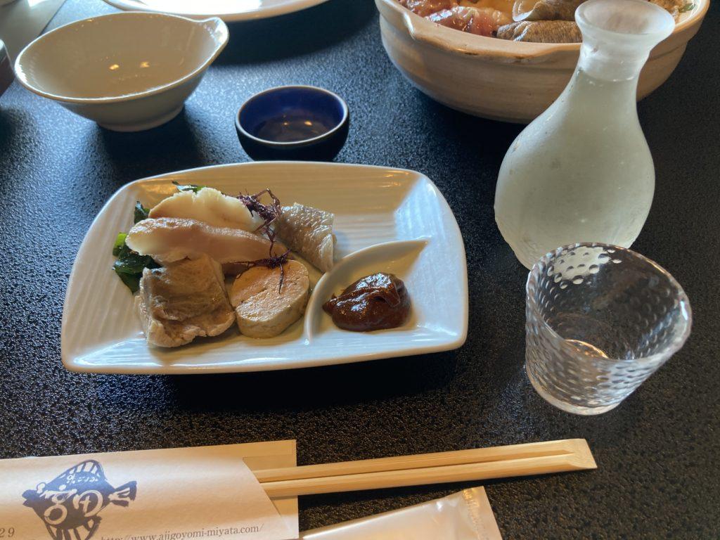 大洗サンビーチ近くの宮田であんこう鍋づくしコースを食べた時のあんこうの供酢
