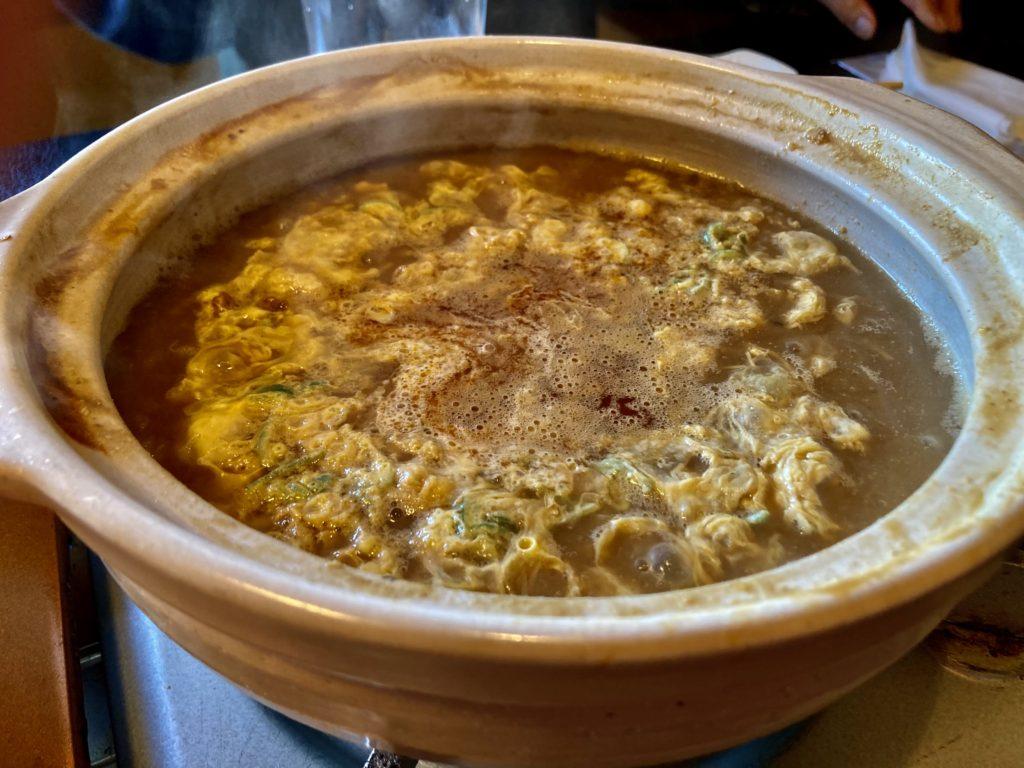 大洗サンビーチ近くの宮田であんこう鍋づくしコースを食べた時の最後の雑炊