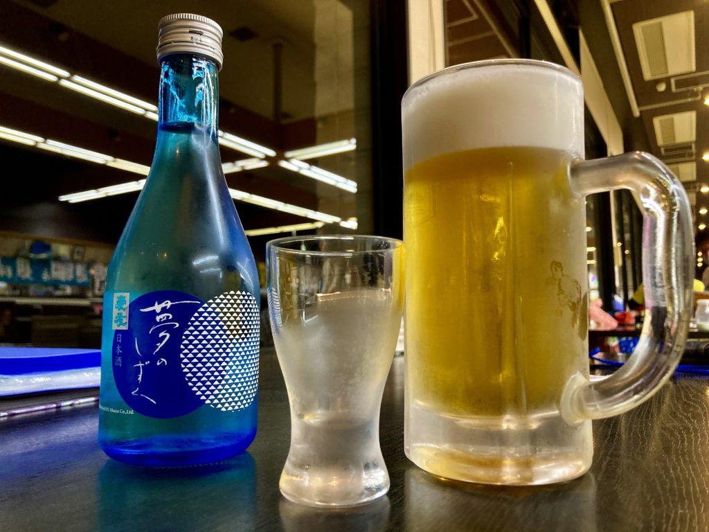 大洗サンビーチ駐車場に泊まる時の日帰り温泉施設「潮騒の湯」でビールと日本酒