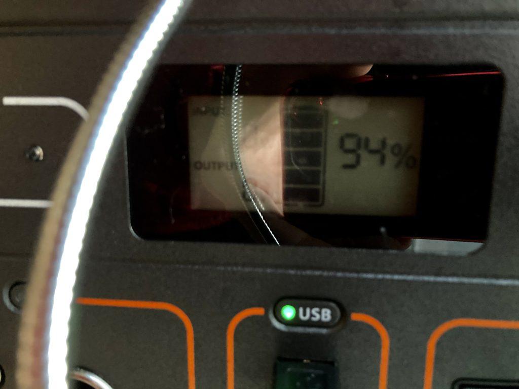 幌馬車くんと行く軽キャンピングトレーラー車中泊で大洗サンビーチ駐車場に泊まるときのバッテリー残量