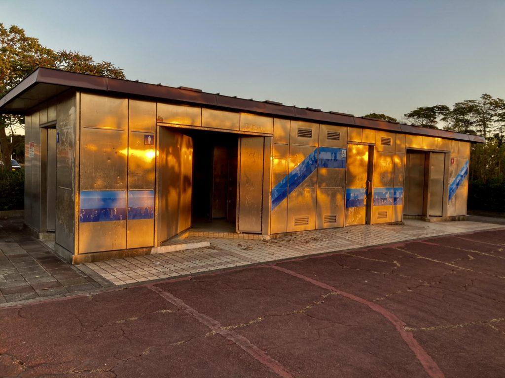 大洗サンビーチ駐車場に泊まる時の大洗町営第二駐車場のトイレ外観